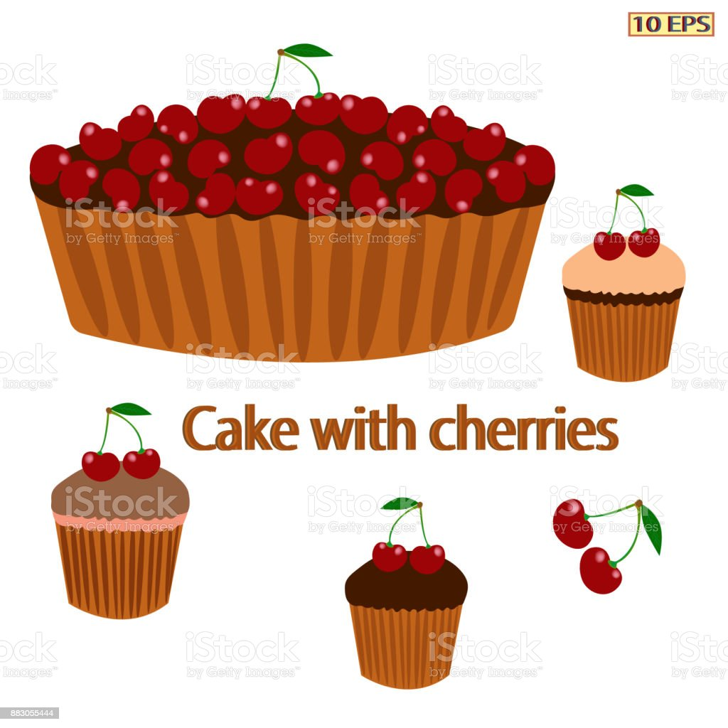 Cherry pie. Pie with berries. Cake with cherries. Berry pie. Dessert. Bakery, bakery products, confectionery. Vector illustration. vector art illustration