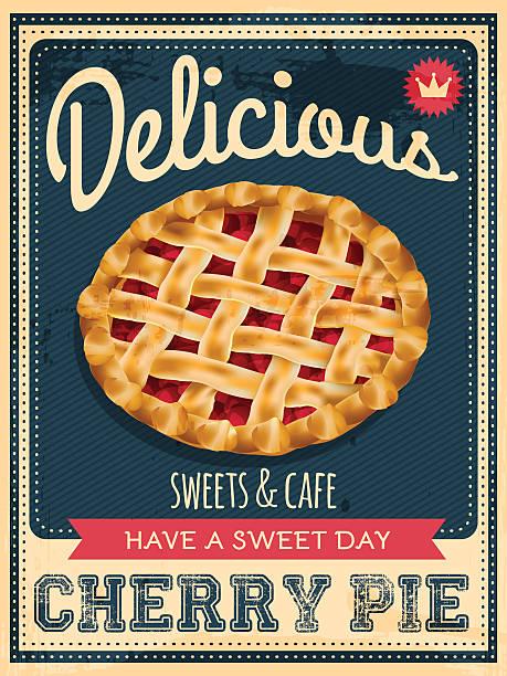 cherry pie poster - retroküchen stock-grafiken, -clipart, -cartoons und -symbole