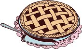 Cherry Pie with Serving Knife