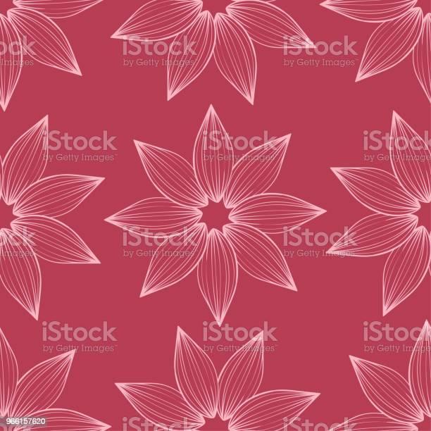 Cherry Pink Floral Seamless Pattern - Arte vetorial de stock e mais imagens de Abstrato