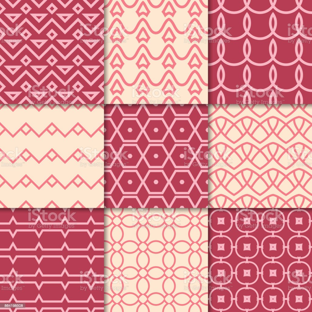 Cherry red and beige geometric ornaments. Collection of seamless patterns royalty-free cherry red and beige geometric ornaments collection of seamless patterns stock vector art & more images of abstract