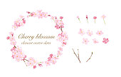 Cherry round frame and element watercolor illustration trace vector