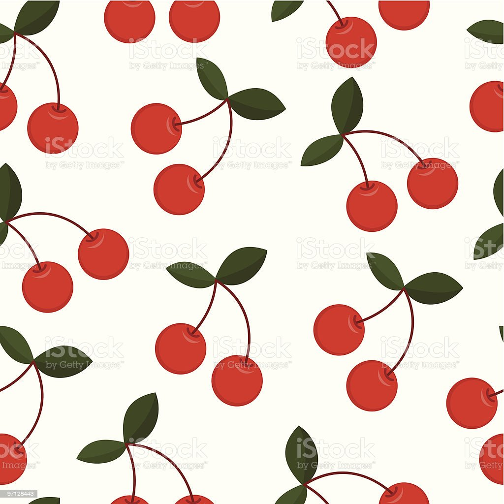 Cherry seamless background vector art illustration