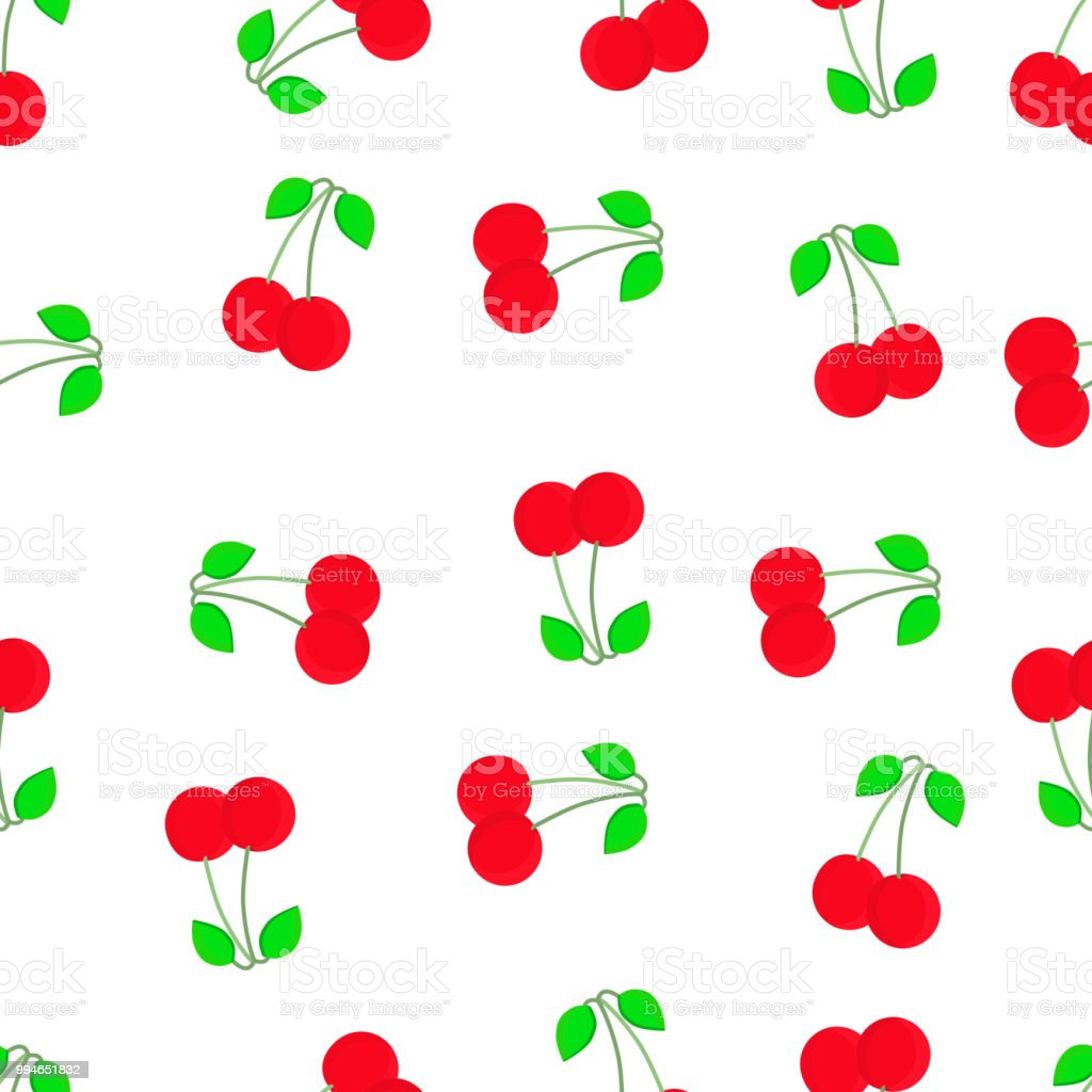 22b6fd87d4 Cherry seamless pattern. Good for textile, wrapping, wallpapers, etc. Sweet  red ripe cherries isolated on white background. - Illustration .