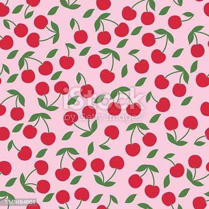 istock Cherry seamless pattern . 1149464664