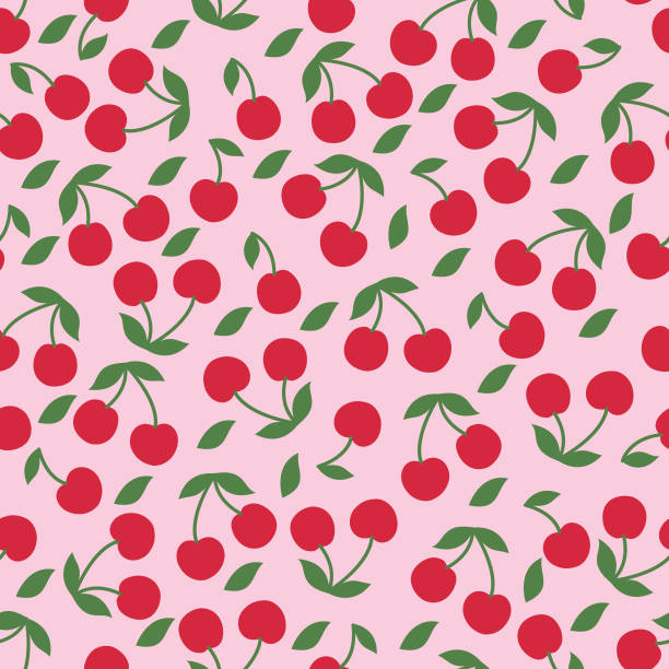 Cherry seamless pattern . Vector cherry seamless pattern . cherry stock illustrations