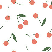 Cherry seamless vector pattern. Summer organic fruit background. Trendy childish pattern with berries for decoration design, poster, textile. Simple vector illustration with vegetarian healthy food
