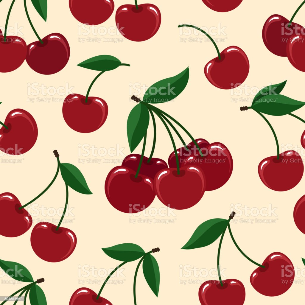 Cherry seamless pattern vector art illustration