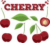 Cherry set.Hand drawn chili.