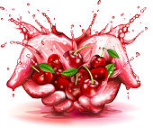 cherry in splash of juice. 10 EPS file with transparency effects and overlapping colors.