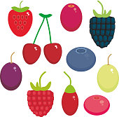 Cherry Strawberry Raspberry Blackberry Blueberry Cranberry Cowberry Goji Grape  seamless pattern Fresh juicy berries on white background. Vector