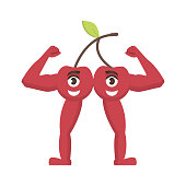 Cherry strong icon, fruit with a smile on his face, healthy food character in cartoon style