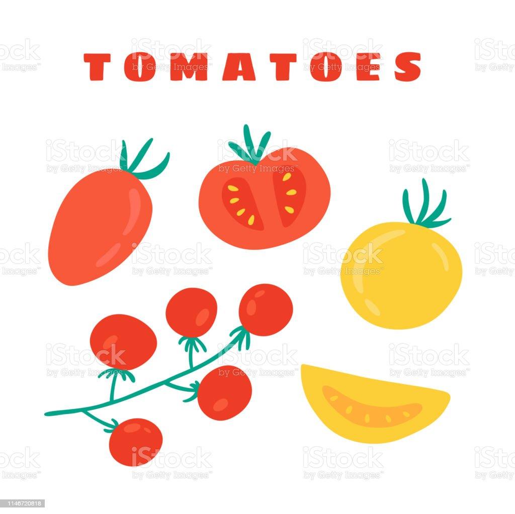 Tomates Cerises Tomates Prune Dessine A La Main Doodle Impression