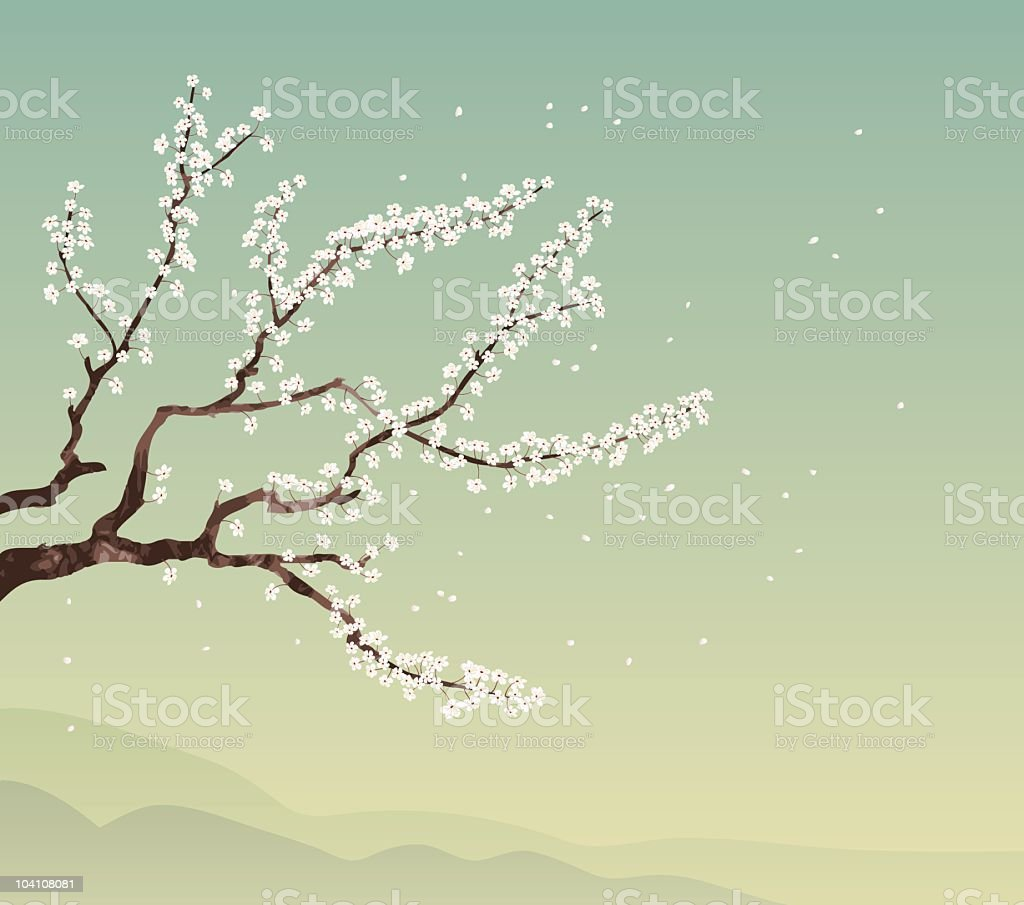 Cherry tree and landscape royalty-free stock vector art