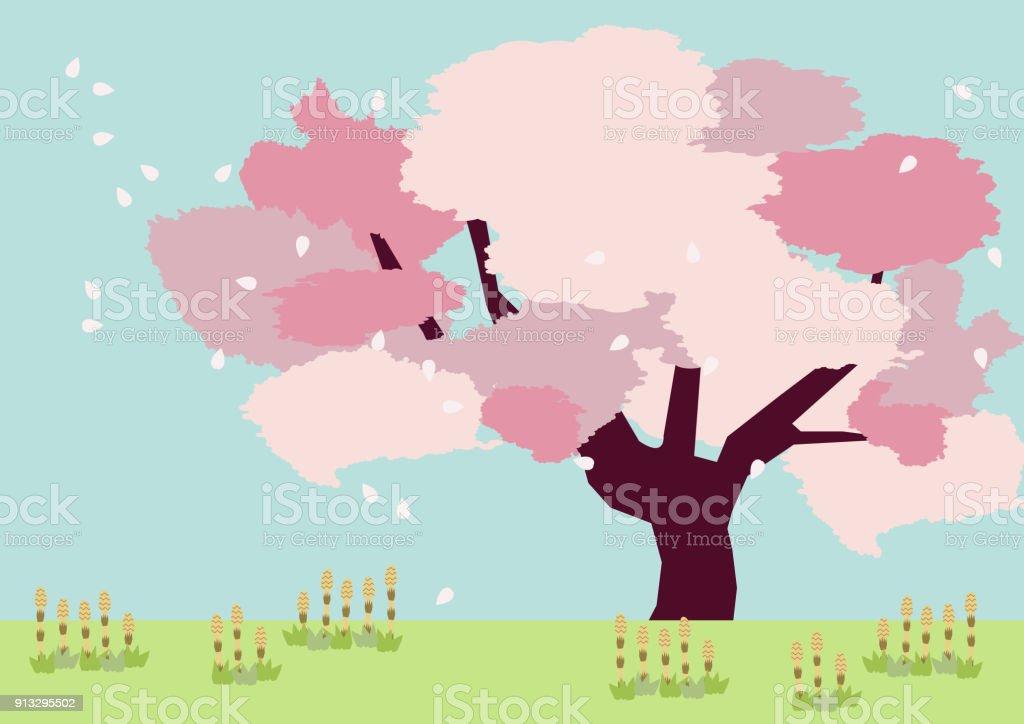 桜の木の背景春の風景です春のクリップアート桜と春の野のイメージ