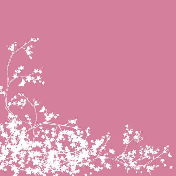 illustrazioni stock, clip art, cartoni animati e icone di tendenza di cherry tree blossom and butterflies silhouette decor - farfalla ramo