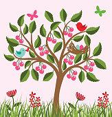 Vector cherry tree .