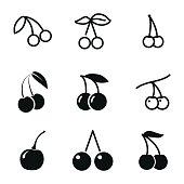 Cherry vector icons.