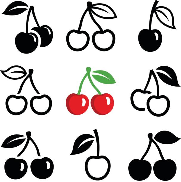 Cherry Cherry icon collection - vector outline and silhouette cherry stock illustrations