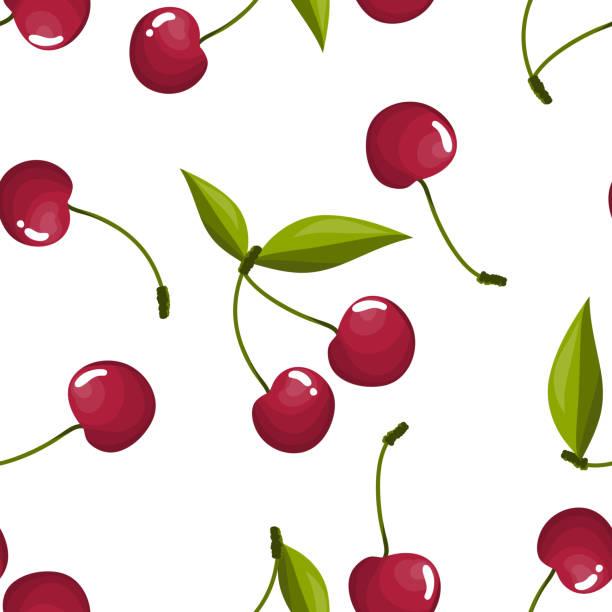 stockillustraties, clipart, cartoons en iconen met cherry met bladeren naadloze patroon. - kers