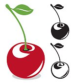 Cherry with long stem in color and black and white