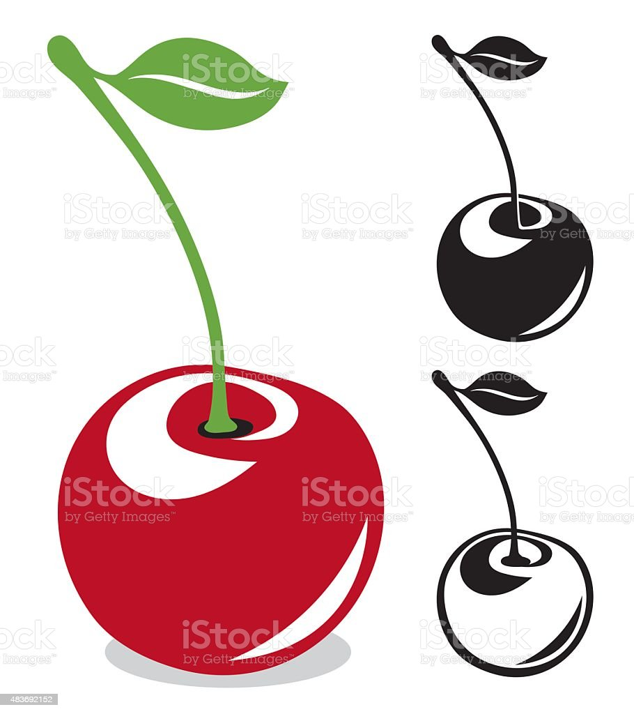 Cherry with long stem in color and black and white vector art illustration