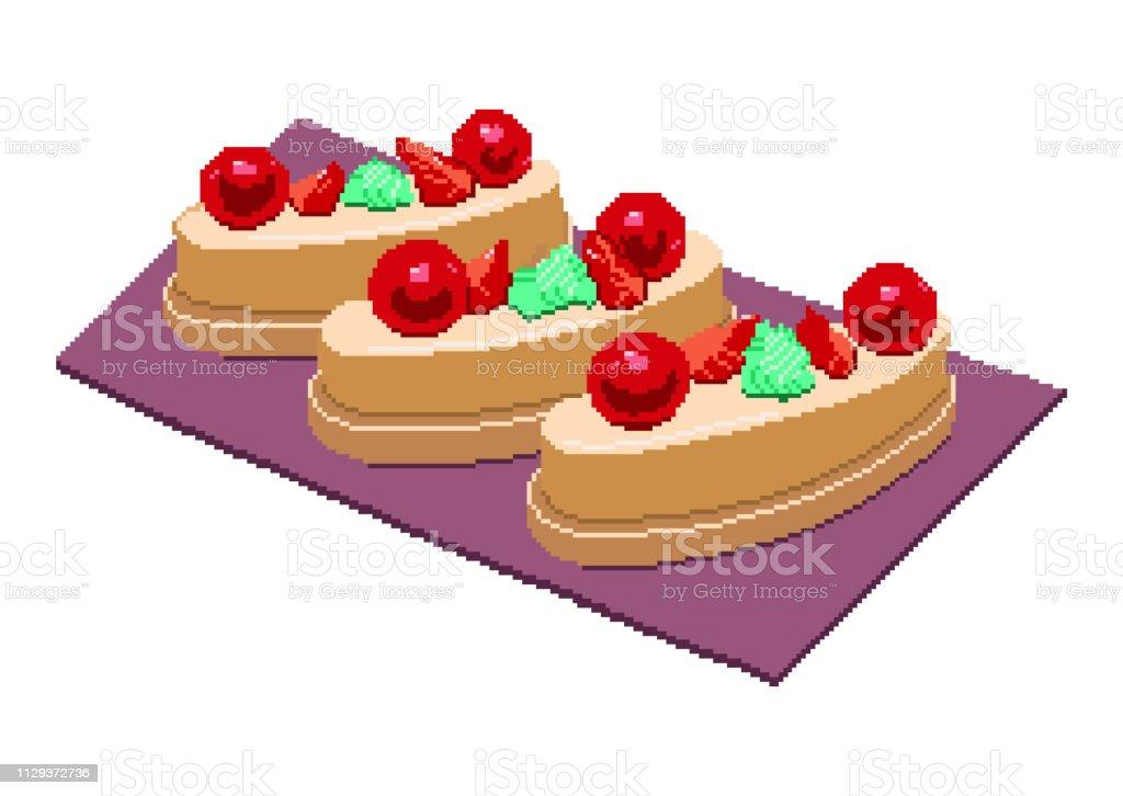 Cerise Avec Gâteau Aux Fraises Morceaux De Tranches De