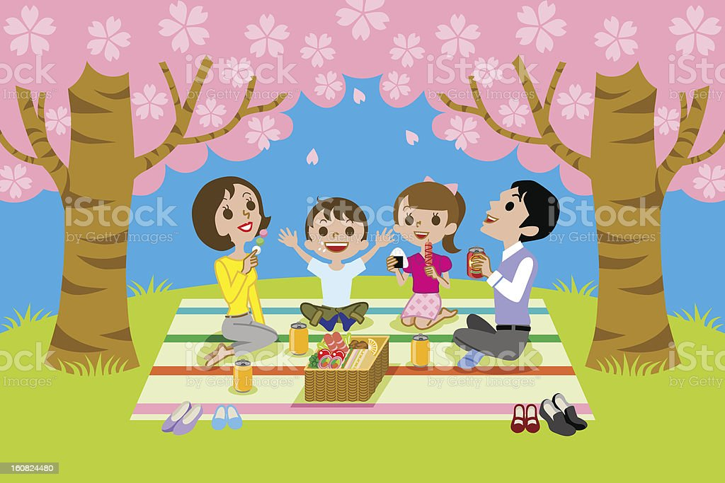 cherry-blossom viewing,family take Lunch royalty-free stock vector art
