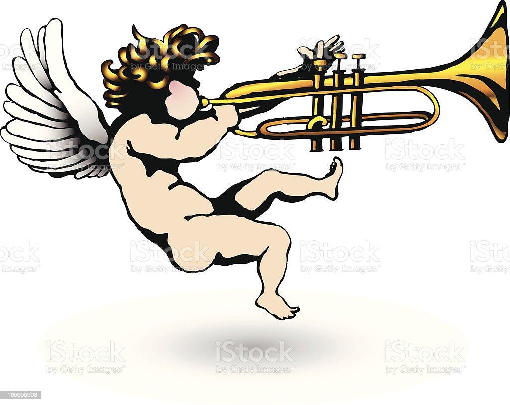 Cherub Blowing Trumpet royalty-free stock vector art