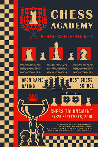 Chess academy game open tournament vector poster