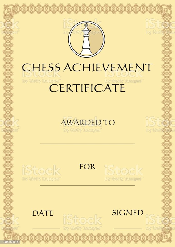 chess achievement certificate template on old designed beige paper