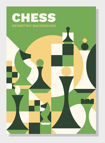 Chess background. Abstract geometric vector illustration. Best for book cover, poster, flyer and banner.