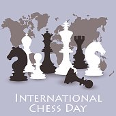 Chess background. International chess day card. July 20.