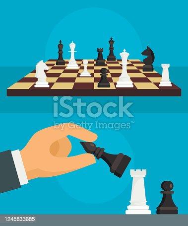 Chess banner set. Flat illustration of chess vector banner set for web design