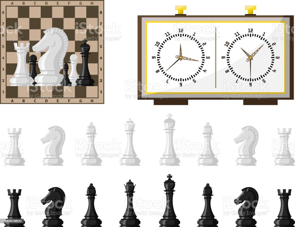 Chess board and chessmen vector leisure concept knight group white and black piece competition vector art illustration