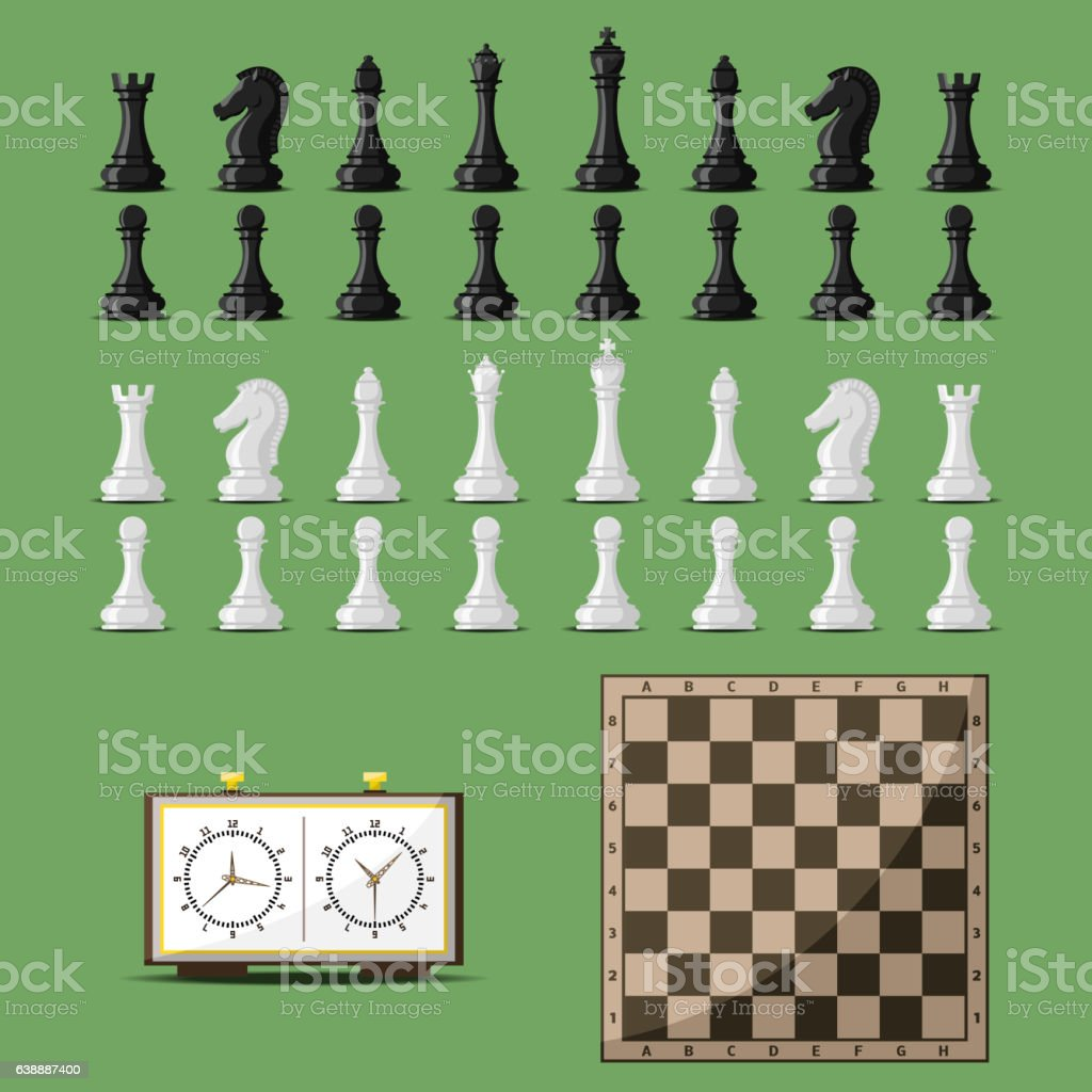 Chess board and chessmen vector. vector art illustration
