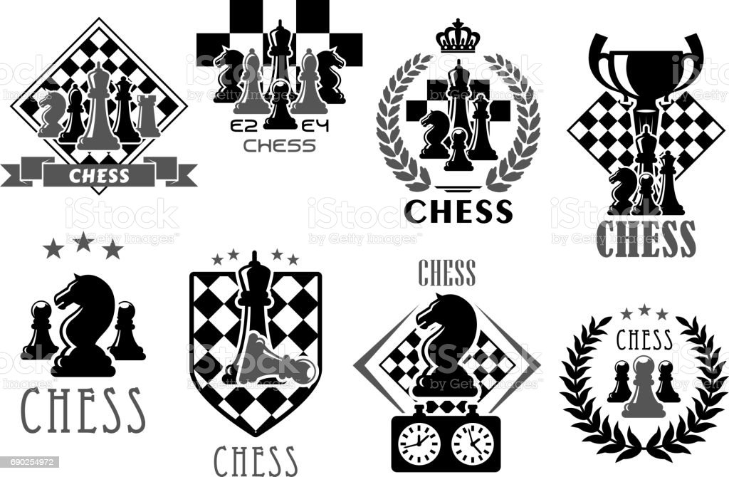 Chess club and game contest vector icons vector art illustration
