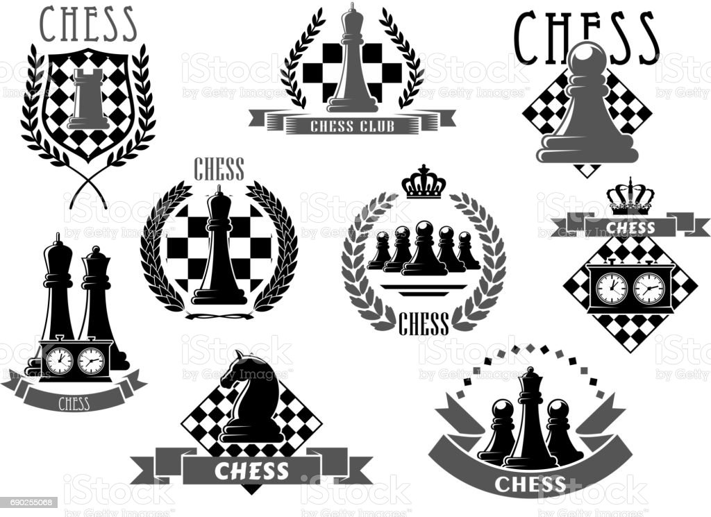 Chess club emblems and vector icons vector art illustration