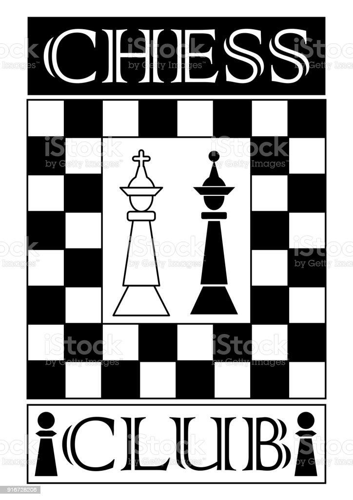 Chess Club Signboard In Monochrome Design Chess Piece ...