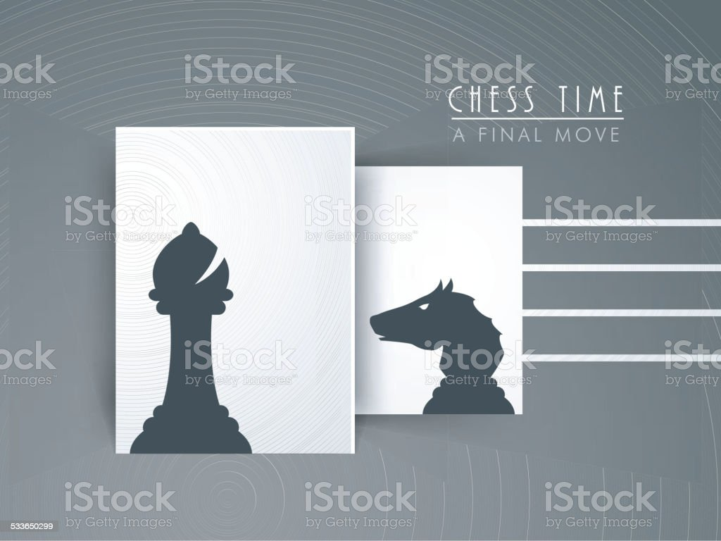 Chess concept with bishop and knight. vector art illustration