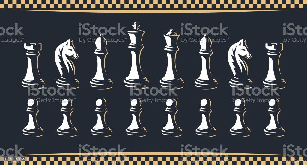 D'échecs figure set - illustration vectorielle, sur un fond sombre - clipart vectoriel de Cavalier libre de droits