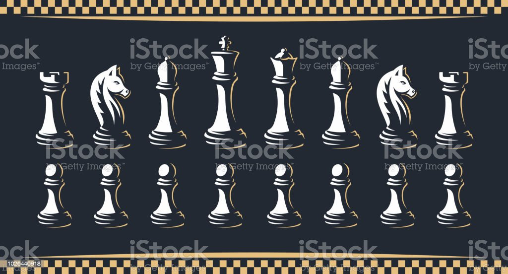 Chess figure set - vector illustration, on a dark background - Royalty-free Bispo - Peça de Xadrez arte vetorial
