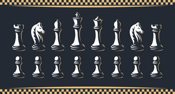 ilustrações de stock, clip art, desenhos animados e ícones de chess figure set - vector illustration, on a dark background - xadrez