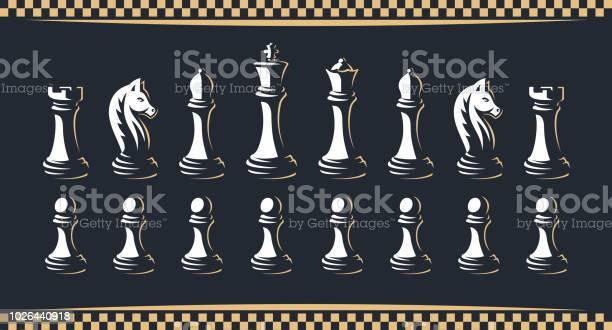 Chess Figure Set Vector Illustration On A Dark Background - Arte vetorial de stock e mais imagens de Bispo - Peça de Xadrez
