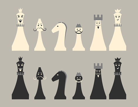 Chess figures black and white as cartoon characters