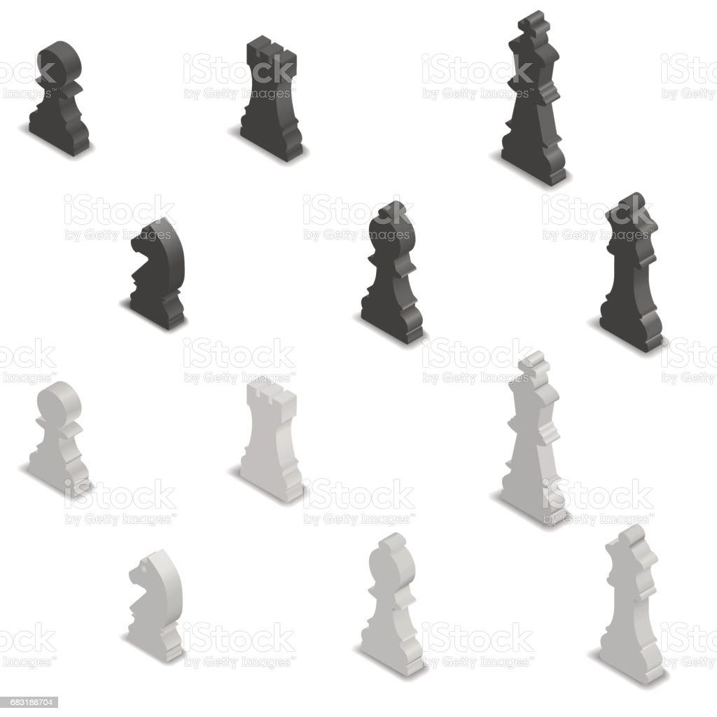國際象棋棋子等距,向量圖。 免版稅 國際象棋棋子等距向量圖 向量插圖及更多 一個物體 圖片