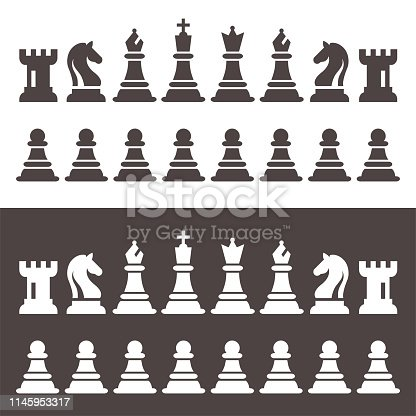 Chess Figures Pieces in Flat Style Vector Illustration. Black Chess Icons Set. Chess Black And White Figures King, Queen, Bishop, Knight, Rook, Pawn.