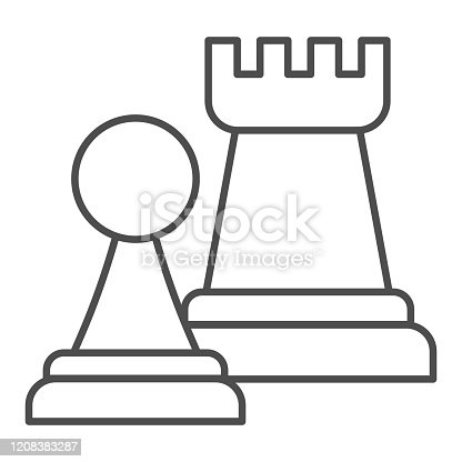 Chess figures thin line icon. Rook and pawn figure. Jurisprudence vector design concept, outline style pictogram on white background, use for web and app. Eps 10