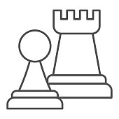 istock Chess figures thin line icon. Rook and pawn figure. Jurisprudence vector design concept, outline style pictogram on white background, use for web and app. Eps 10. 1208383287