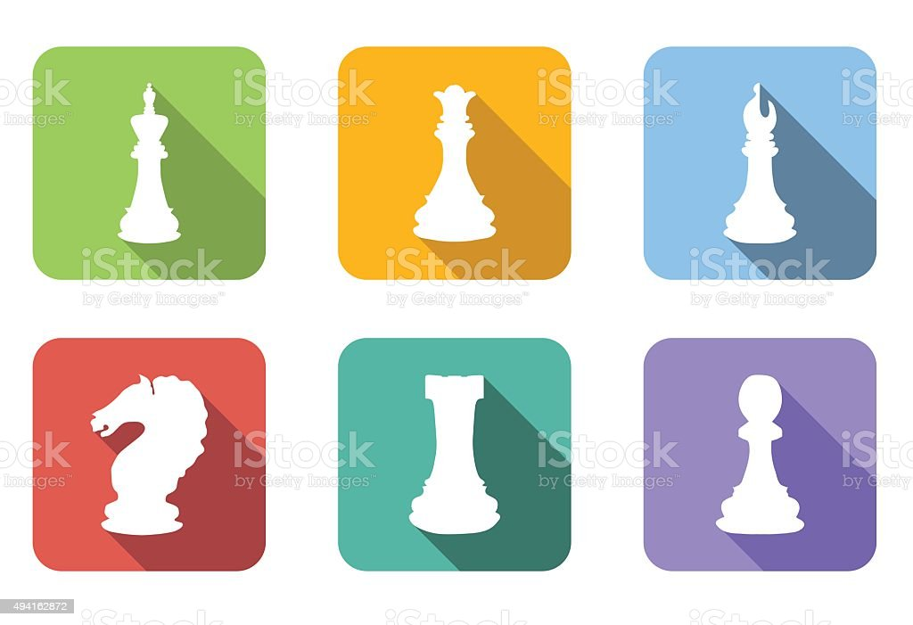 Chess Flat Icons Set Stock Vector Art & More Images of ...
